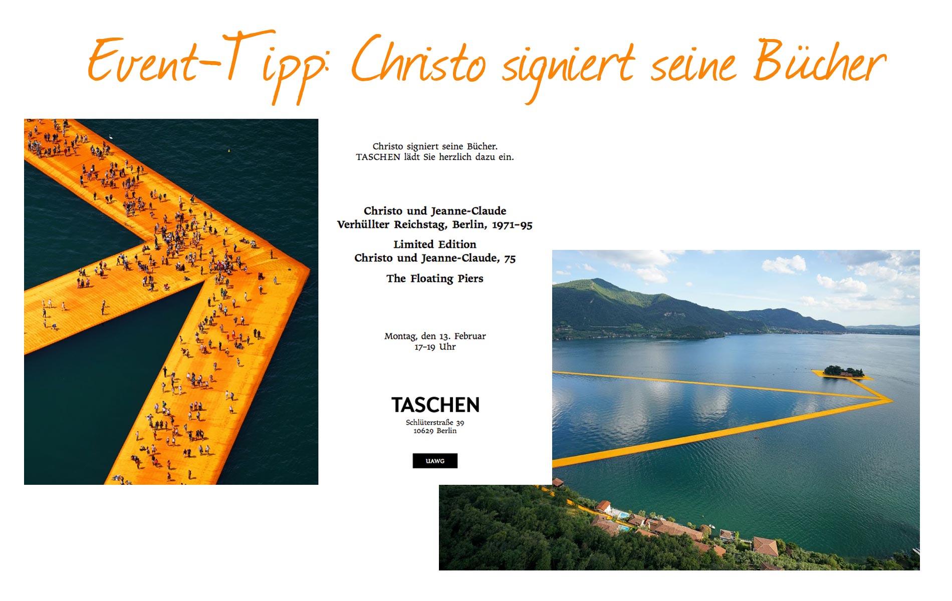 Christo, Bücher, Taschen, Gewinnspiel, Floating Piers, Signierstunde, Autogramm, Künstler, Kunstinstallation,