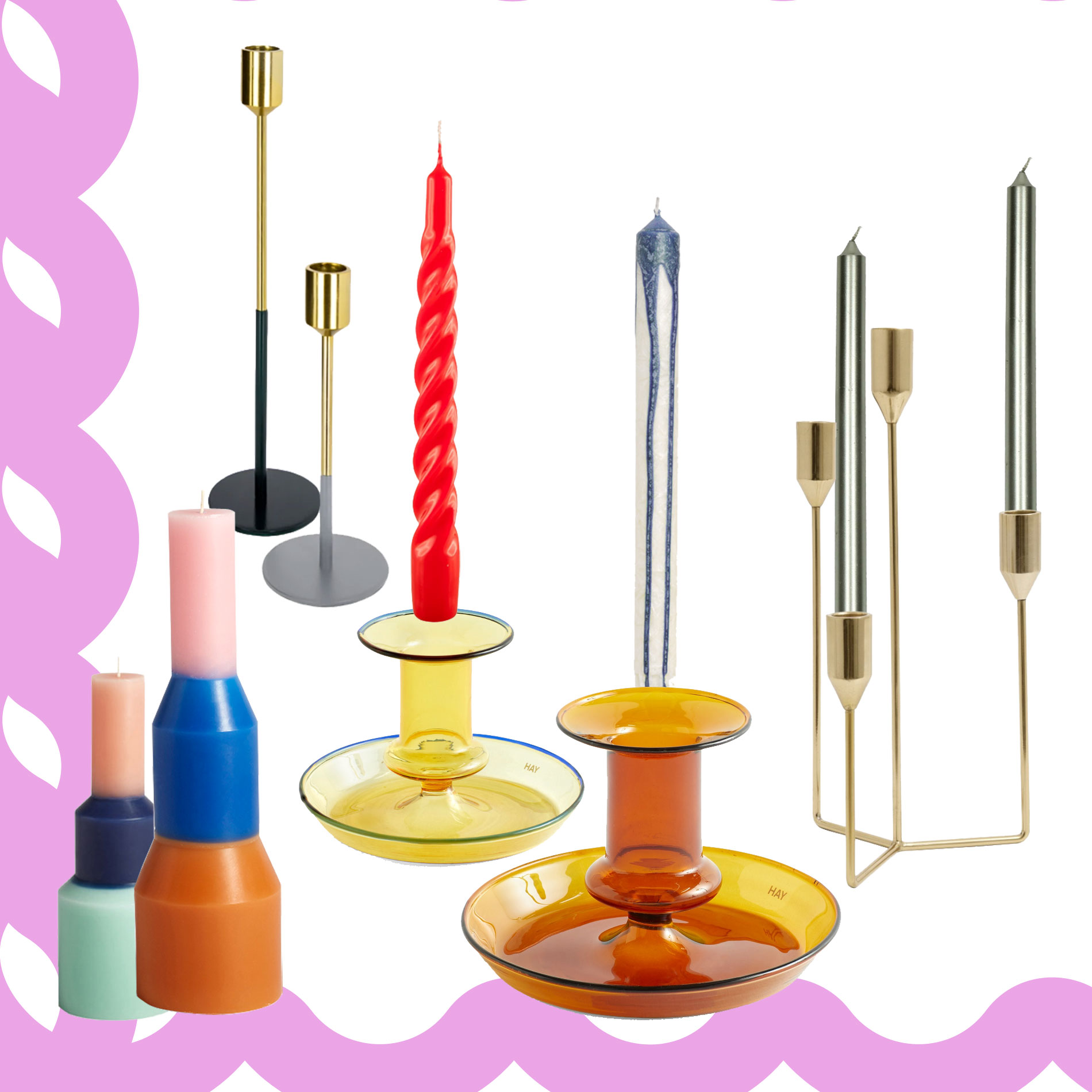Kerzen und Kerzenhalter, Interior-Trend Kerzen, Interior-Trend Kerzenhalter, Kerzen der neue Interior-Trend, Kerzen für mehr Gemütlichkeit, bunte Kerzen, gedrehte Kerzen, stylische Kerzenhaltern, schöne Kerzen, schöne Kerzenhalter